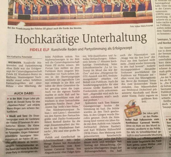 Ausschnitt AZ Allgemeine Zeitung 2018 Jokus Ralf Falkenstein